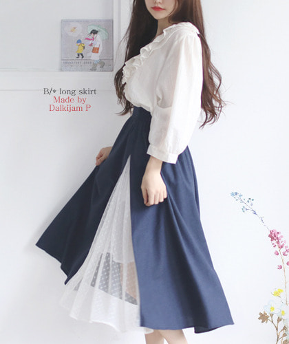 블라인드 스커트.Blind bir*(B/*) long skirt..F/W